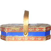 19th Century Prussian Blue and Dresden Paper Covered Candy Box with Handle