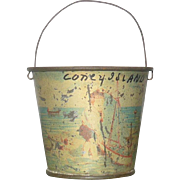 Tiny 19th Century Lithographed Tin Coney Island Sand Pail Wire Handle Paint Wear