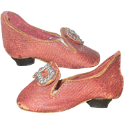 2 & 3/8 Inch Long 19th Century Claret Leather Slippers with Nailed on Heels