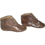 Cobbler Made 1850's-60's Glazed Kid Flat Sole Low Boots for Larger Early China or Papier-Mache