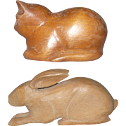 2 Pennsylvania Folk Art Carvings A Cat and A Jack Rabbit