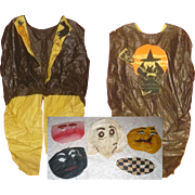 1930;s Child's Glazed Cotton Witch Jacket Costume with Five 1930's Character Masks and Another Costume