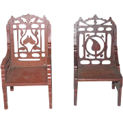 Two 19th Century Tramp Art Fret Work Miniature Chairs Leaf Design