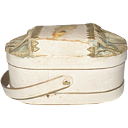 4.5 Inch Victorian Oval Ivory  Pressed Paper and Silk Candy Box with Handle Scrap Dresden Trims