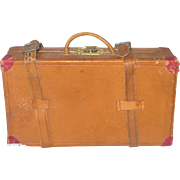 Old 5.5 Inch Toy or Salesman Split Leather Suitcase Leather Straps and Handle Fancy Brass Latch