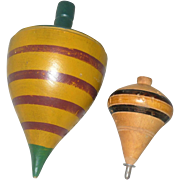 Antique 6.75 Inch Green Yellow Red Painted Wood Turnip Shape Spinning Top and 3.75 Inch Yellow and Black Top