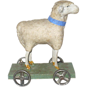 Doll Size 4 Inch Woolly Sheep Pull Toy Green Painted Wood Platform with Metal Wheels