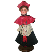 11 Inch Heubach Kopplesdorf 251 Painted Bisque Doll Elaborate Canadian Cardinal Costume Rosaries Ring Cap