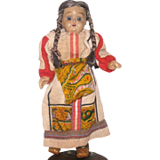 11 Inch Low Fired Bisque Head Russian Doll with 4 Wrapped Braids Blue Sleep Eyes  Layered Russian Costume