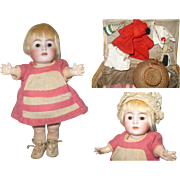 8 Inch Franz Schmidt 1295 Character Toddler Original Wig Clothes Shoes Body Finish in Wicker Basket with Accessories