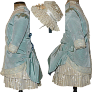 Vintage Lace Trimmed Blue Taffeta and Ivory Brocade Bebe Dress with Ivory Brocade Bonnet
