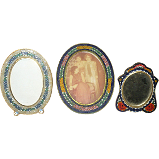 3 Dainty  Mosaic Oval Frames with Stands One Marked Italy