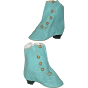 Pretty Blue Old Store Stock Oil Cloth 2.75 Inch Size 7 Boots with 5 Buttons and Heels
