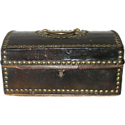 1820 Bronze Glazed Leather Covered 7.5 Inch Wood Dome Top Trunk Brass Handle Studs Wall Paper Interior