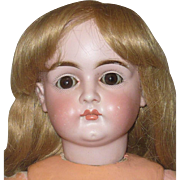19th Century 22 Inch Kestner Bisque Head 128 Closed Mouth  Brown Sleep Eyes Missing Lid Wax Repainted Body Nude Project Doll