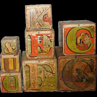 Set of 8 Litho on Wood 1880's L A Crandall  Monmouth ABC Machine Dovetailed Nesting Blocks