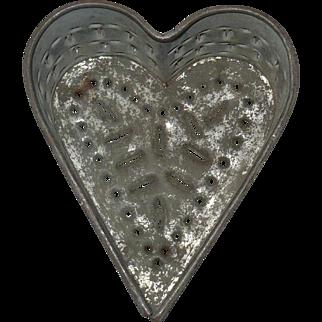 5 inch 19th Century Pennsylvania Pierced Tin Heart Cheese Drainer Mold with Feet