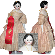 15 Inch Pink Tint Greiner China Glass Eyes Lashes China Arms Antique Clothes Shoulder Crack Exhibitor Ribbon