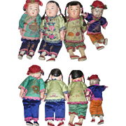 4 Vintage Chinese Papier-mache Child Dolls Colorful Costumes