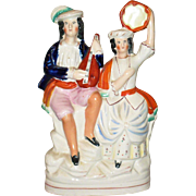 9 Inch 19th Century Colorful Staffordshire Flat Back Chimney Figure Troubadours