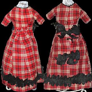 "13"" Hand Stitched 1860 Red Plaid Home Spun Dress Linen Shift Petticoat and Pantaloons China Papier-mache"