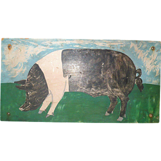 Primitive 19 Inch x 10 Inch Folk Art Portrait of Black and White Pig on Composition Board