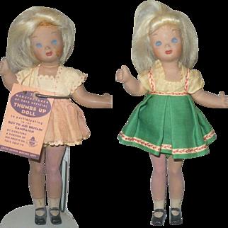 2 Margit Nilsen 8 Inch 1941 Thumbs-up Victory Dolls One Has Original Tag