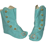 3.25 Inch Size 8 lld Stock Blue Flat Sole Oil Cloth Boots for China or Slim Lady Doll