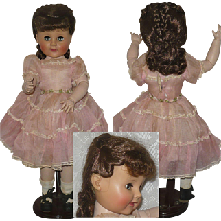 18 Inch Madame Alexander Madeline Fully Jointed HP Body Vinyl Head Brunette Wig Tagged Dress