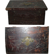 19th Century Berks County Pennsylvania Strunk Family  Box Old Red Paint Scratch Carved Hunt Motifs