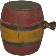 4 Inch 19th Century Polychrome Painted Wood Barrel Shape Wood Black Powder Keg