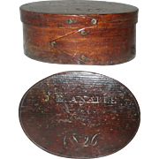 6.25 Inch 1826 Dated Thin Wall 2 Finger Oval Box Old Varnish Finish