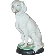 19th Century 3.75 Inch Biscuit Saluki Dog on Glazed Base