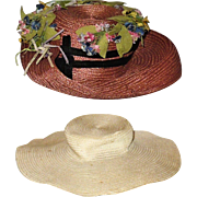 2 Edwardian Straw Doll Hats for Lady Doll.