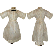 13 Inch Gauzy Ivory Linen Edwardian Lady Doll Dress Fine Woven Stripes Tiny Rose Buds Back Interest