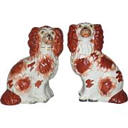 Two 1850's Red and White Staffordshire Spaniel Dogs Left Facing 6.75 Inch Right Facing 6.5 Inch