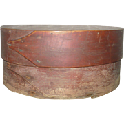 19th Century 7 Inch Round Bent Wood 2 Finger Pantry Box Original Red Wash