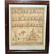 8 Inch Early 19th Century Mid Atlantic Quaker Sampler