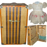 Muneca Marilu 1930's Steamer Trunk with Dresses &  Accessories