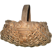 Old 4 Inch NJ Woven Splint Miniature Gathering Basket with Handle and 10 Ribs