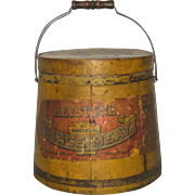 19th C Keystone Mince Meat 20Lb Firkin Original Mustard Paint and Label