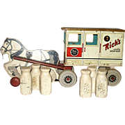 1950 Rich's Little Milk Man Horse and Wagon Pull Toy