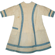 1860's Hand Stitched Cream and Blue Home Spun Linen Dress for China or Papier-Mache Doll