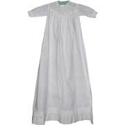 37 Inch Long Edwardian White Linen Gown White Work Bodice and Tucks for Large Character Baby
