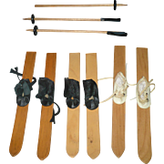 3 Pair of Mary Hoyer Skis with Lace  Up Boots and 3 Ski Poles