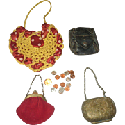 4 Vintage  and Antique Doll Purses Plus 16 Tiny Coins