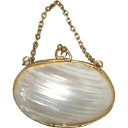 Old Shell Purse Gold Metal Frame Clasp and Chain