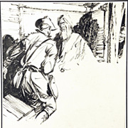 American Art - Old Man: Vintage Original Western Pulp Illustration Art