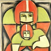 American Art - NFL Football Quarterback: Contemporary Pop Cubist Oil Painting