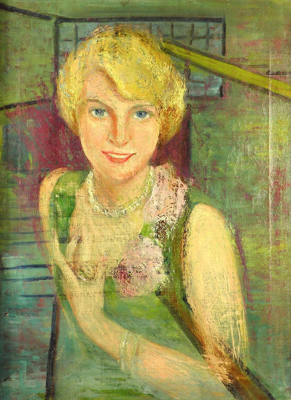 American Art - Portrait of a Lady as a Ghost: Vintage Portrait Oil Painting